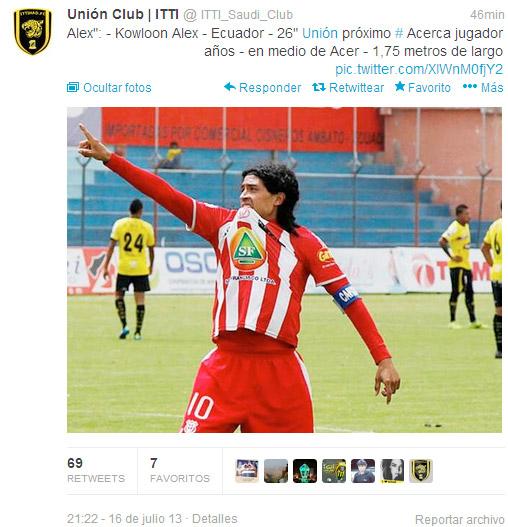 Alex Colón estaría contratado por equipo del fútbol árabe
