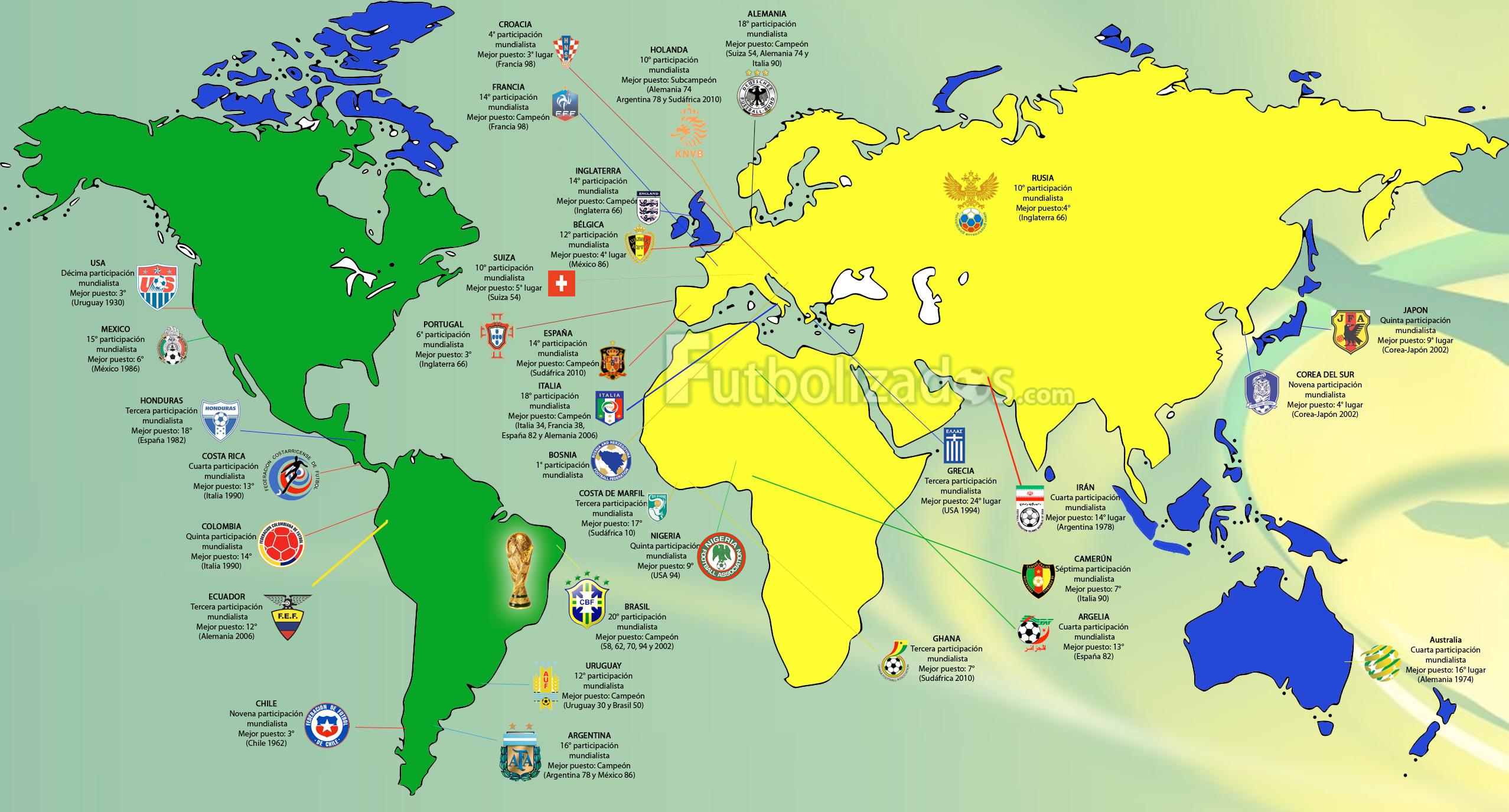 Infograf a mira el mapa con las 32 selecciones que for Marmol donde se encuentra