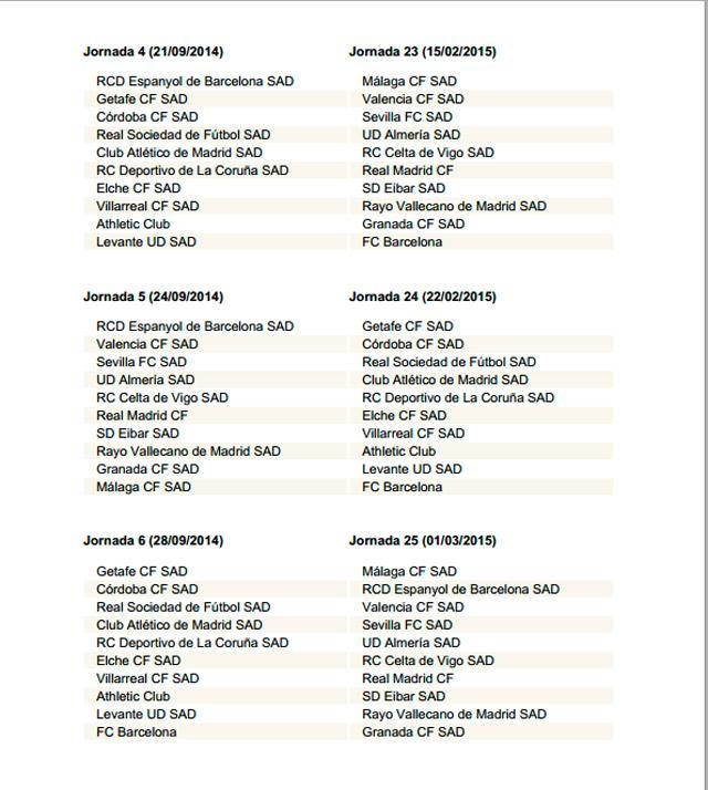 Calendario De La Liga Espanola De Futbol.El Calendario Completo De La Liga Espanola Para La Proxima Temporada